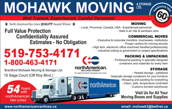 Mohawk Moving & Storage Ltd (519-753-4171) - Display Ad -
