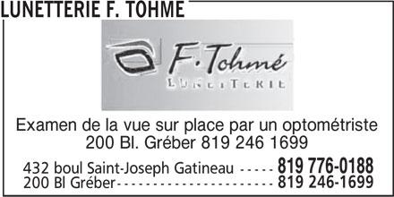 Lunetterie F. Tohmé (819-776-0188) - Annonce illustrée======= -