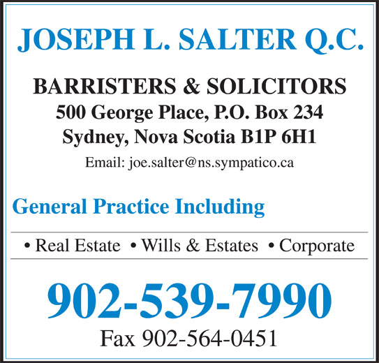 Salter Joseph L QC (902-539-7990) - Display Ad - 902-539-7990 Fax 902-564-0451