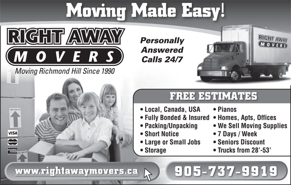 Right Away Movers (905-737-9919) - Display Ad -