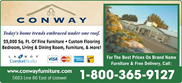 Conway Furniture (519-291-3820) - Annonce illustrée======= -