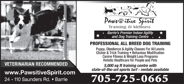 Pawsitive Spirit (705-725-0665) - Display Ad - state-of-the-art sports turf - rentals available www.PawsitiveSpirit.com 24 - 110 Saunders Rd.   Barrie 705-725-0665 PROFESSIONAL ALL BREED DOG TRAINING Puppy, Obedience & Agility Classes For All Levels Clicker & Trick Training   Behaviour Modification Canine Fitness & Weight Loss Programs Holistic Healthcare for People and Pets VETERINARIAN RECOMMENDED 5,000 sq ft training centre with