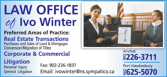 Law office of Ivo Winter (902-226-3711) - Display Ad - Conversion/Migration of Titles