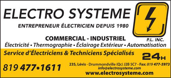 Electro-Système P L Inc (819-477-1611) - Annonce illustrée======= - Service d Électriciens & Techniciens Spécialisés Drummondville