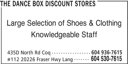 Ads Dance Box Discount Stores, The