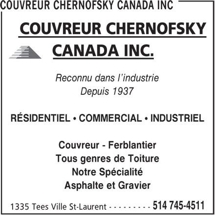 Couvreur chernofsky canada inc 1335 rue tees saint - Infiltration d eau plafond assurance ...