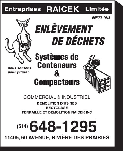 Ferraille Et Démolition Raicek Inc (514-648-1295) - Annonce illustrée======= -
