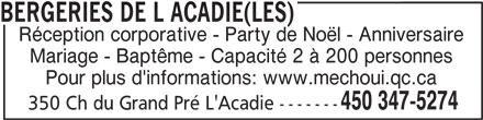 Les Bergeries De L Acadie (450-347-5274) - Annonce illustrée======= -