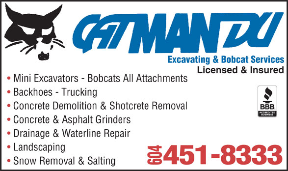 Catmandu Excavating & Bobcat Services (604-451-8333) - Annonce illustrée======= -