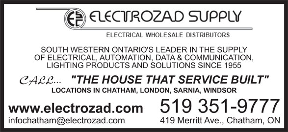Electrozad Supply (519-351-9777) - Annonce illustrée======= -