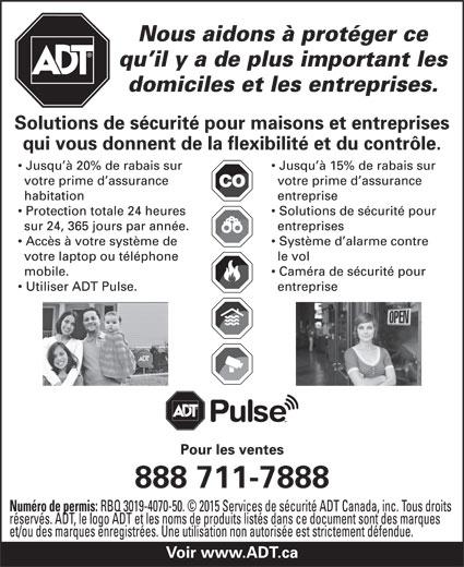 ADT Services De Sécurité Canada (1-888-711-7888) - Annonce illustrée======= -
