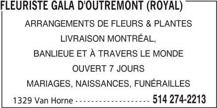 Florist Royal (Gala D'Outremont) (514-274-2213) - Annonce illustrée======= -