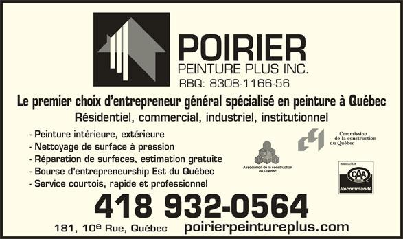 Poirier Peinture Plus Inc (418-932-0564) - Annonce illustrée======= -