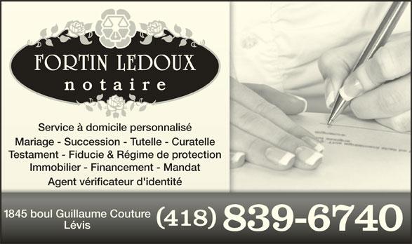 Fortin Ledoux Notaires (418-839-6740) - Annonce illustrée======= -