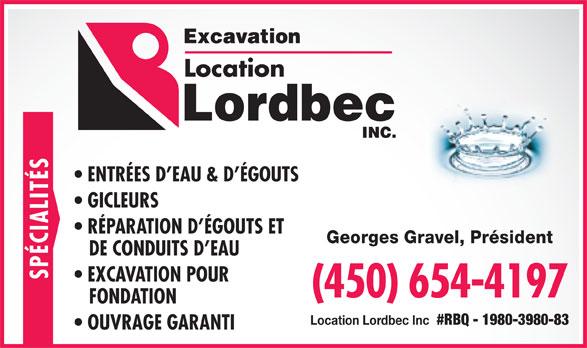 Excavation Lordbec Inc (450-654-4197) - Annonce illustrée======= -