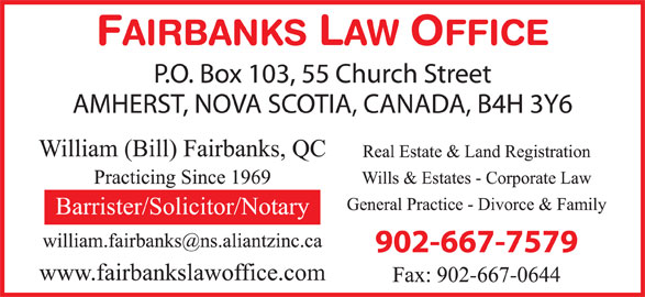 Fairbanks Law Office (902-667-7579) - Display Ad -