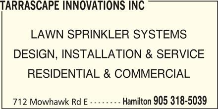 Tarrascape Innovations Inc (905-318-5039) - Display Ad -