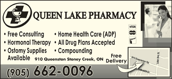 Queen Lake Pharmacy (905-662-0096) - Annonce illustrée======= - 910 Queenston Stoney Creek, ON