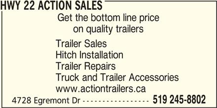 HWY 22 Action Sales (519-245-8802) - Display Ad -