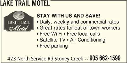 Lake Trail Motel (905-662-1599) - Annonce illustrée======= -