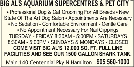 Big Al's (905-560-1000) - Display Ad - BIG AL'S AQUARIUM SUPERCENTRES & PET CITY  Professional Dog & Cat Grooming For All Breeds  New State Of The Art Dog Salon  Appointments Are Necessary  No Sedation - Comfortable Environment - Gentle Care  No Appointment Necessary For Nail Clippings TUESDAY - FRIDAY 8:30AM - 5:00PM  SATURDAYS 8:30AM - 5:00PM  SUNDAYS & MONDAYS - CLOSED COME VISIT BIG AL'S 12,000 SQ. FT. FULL LINE FACILITIES AND SEE OUR 1500 GALLON SHARK TANK. 905 560-1000 Main 140 Centennial Pky N Hamilton -