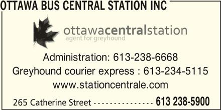 Ottawa Bus Central Station inc (613-238-5900) - Display Ad -