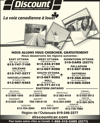 Discount Car and Truck Rentals (613-747-7100) - Annonce illustrée======= -