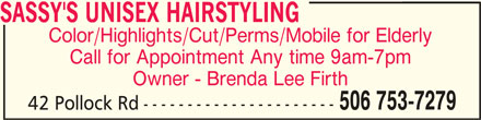 Sassy's Unisex Hairstyling (506-753-7279) - Display Ad - SASSY'S UNISEX HAIRSTYLING Color/Highlights/Cut/Perms/Mobile for Elderly Call for Appointment Any time 9am-7pm Owner - Brenda Lee Firth 506 753-7279 42 Pollock Rd ----------------------