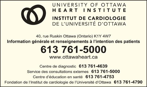 Institut de Cardiologie de l'Universited'Ottawa (613-761-5000) - Annonce illustrée======= -
