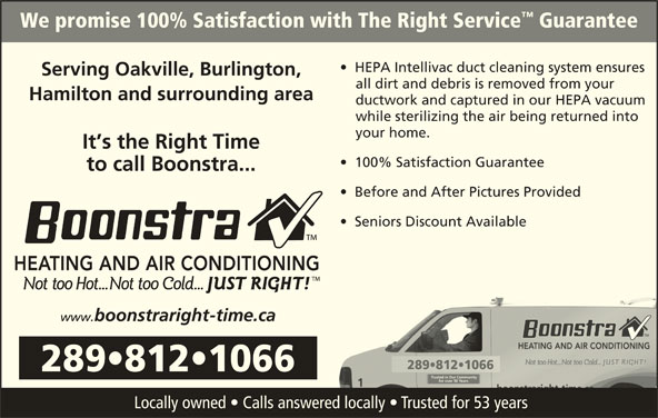 Boonstra Heating And Air Conditioning Opening Hours