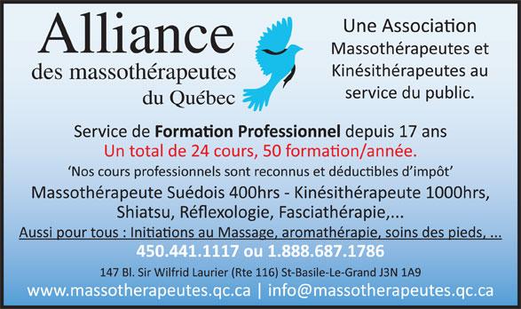 Alliance des Massothérapeutes du Québec (450-441-1117) - Annonce illustrée======= -
