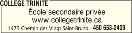 Collège Trinité (450-653-2409) - Annonce illustrée======= -