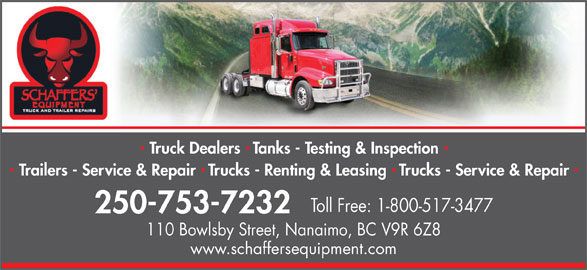 Schaffers' Equipment Truck & Trailer Repairs (2012) Ltd (250-753-7232) - Display Ad -