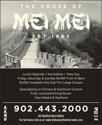The House Of Mei Mei (902-443-2000) - Annonce illustrée======= -