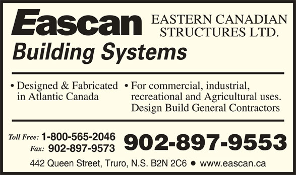 Eascan Building Systems (1-800-565-2046) - Display Ad - 902-897-9553 902-897-9573