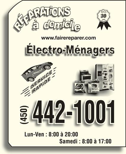 Le Réparateur (450-442-1001) - Annonce illustrée======= - www.fairereparer.com )Lun-Ven : 8:00 à 20:00 442-1001 (450)Lun-Ven : 8:00 à 20:00(450)( Lun-Ven:8:00à20:00 Samedi : 8:00 à 17:00