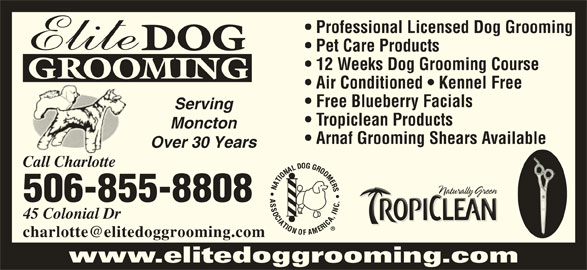 Elite Dog Grooming (506-855-8808) - Display Ad - DOG Pet Care Products 12 Weeks Dog Grooming Course GROOMING Air Conditioned   Kennel Free Free Blueberry Facials Serving Tropiclean Products Moncton Arnaf Grooming Shears Available Over 30 Years Call Charlotte 506-855-8808 45 Colonial Dr www.elitedoggrooming.com Professional Licensed Dog Grooming