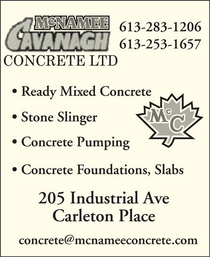 McNamee / Cavanagh Concrete (613-253-1657) - Display Ad -