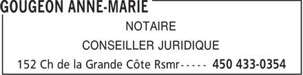 Gougeon Anne-Marie (450-433-0354) - Annonce illustrée======= - NOTAIRE CONSEILLER JURIDIQUE