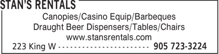 Stan's Rentals (905-723-3224) - Annonce illustrée - Canopies/Casino Equip/Barbeques Draught Beer Dispensers/Tables/Chairs www.stansrentals.com