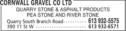 Cornwall Gravel Co Ltd (613-932-6571) - Annonce illustrée - QUARRY STONE & ASPHALT PRODUCTS PEA STONE AND RIVER STONE