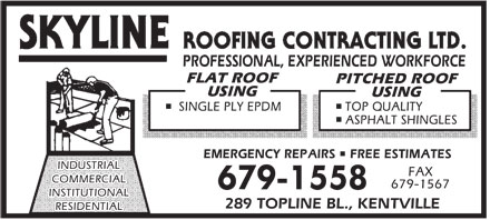 Skyline Roofing Contracting Ltd (902-679-1558) - Annonce illustrée