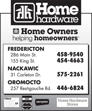 Home Hardware Building Centre (506-454-4663) - Annonce illustrée