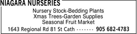 Niagara Nurseries (905-682-4783) - Display Ad - Nursery Stock-Bedding Plants Xmas Trees-Garden Supplies Seasonal Fruit Market