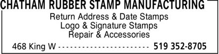 Chatham Rubber Stamp Manufacturing (519-352-8705) - Annonce illustrée - Return Address & Date Stamps Logo & Signature Stamps Repair & Accessories