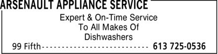 Arsenault Appliance Service (613-725-0536) - Annonce illustrée - Expert & On-Time Service To All Makes Of Dishwashers Expert & On-Time Service To All Makes Of Dishwashers Expert & On-Time Service To All Makes Of Dishwashers