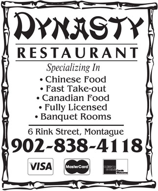 Dynasty Restaurant (902-838-4118) - Display Ad - 902-838-4118