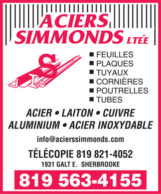 Aciers Simmonds Ltée (819-563-4155) - Display Ad