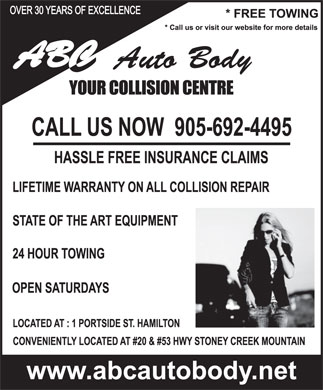 A B C Auto Body (905-692-4495) - Display Ad