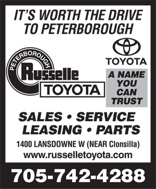 Russelle Toyota (705-243-3662) - Display Ad - 705-742-4288  705-742-4288